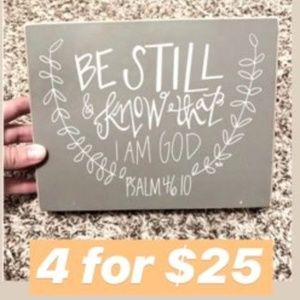 Accents - 4 for $25 | Decor Grey Psalm 46:10 Small Sign